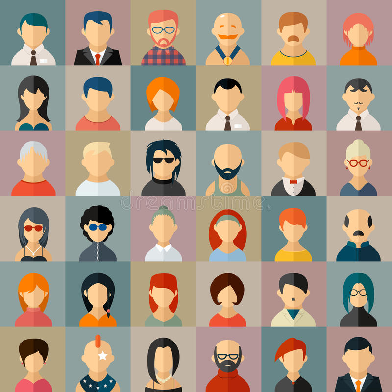 Flat people character avatar icons vector illustration