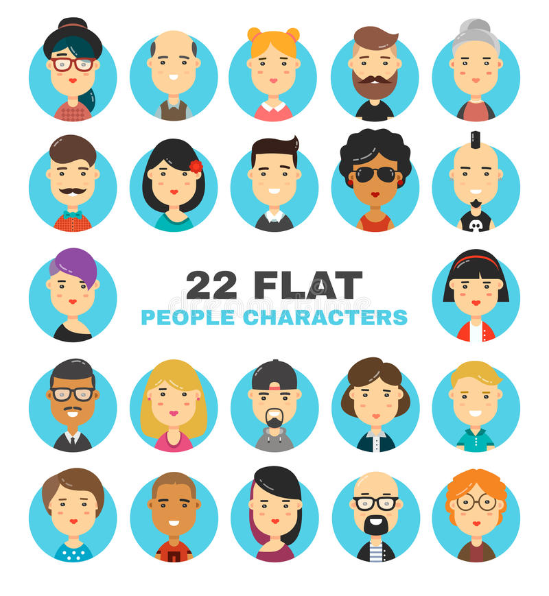 22 flat people characters avatars icons set. Many modern city people vector cartoon illustration stock illustration