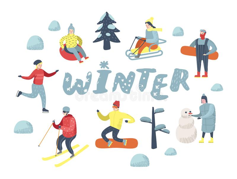 Flat People Characters on Happy Vacation. Winter Sports Sledding, Snowboard, Ski stock illustration