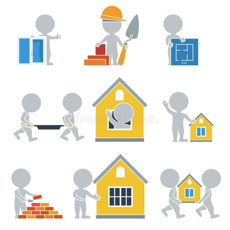 Flat people - construction royalty free illustration