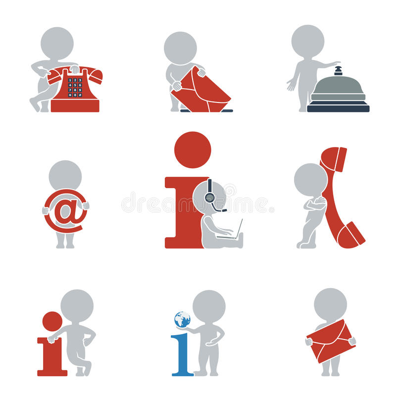 Flat people - contacts and Information stock illustration