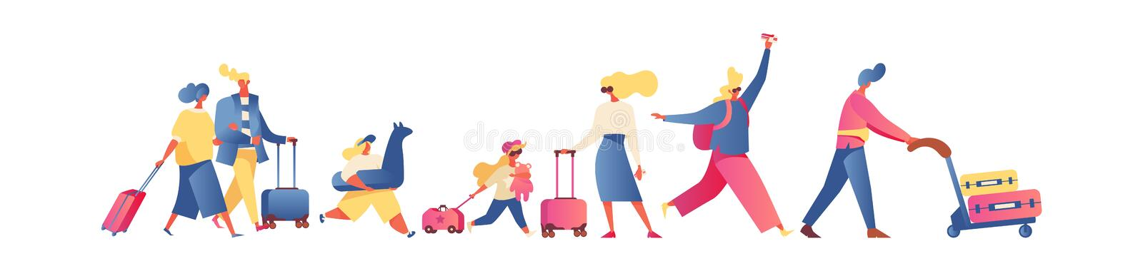 Flat people going on vacation, isolated on white. Families and kids, parents ans couples walking with luggage and trolley. Bright royalty free stock image