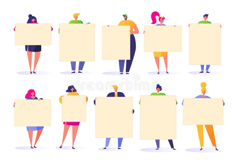 Flat people holding in hands empty banners. Happy flat people characters with advertising, blank, billboards, presentation, announ vector illustration