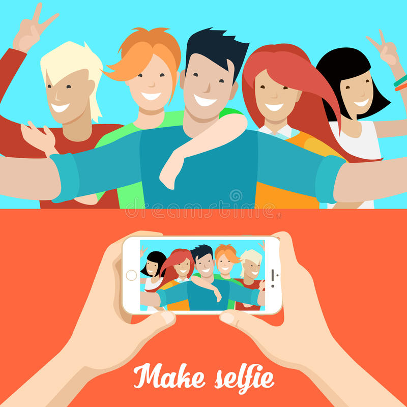 Flat people making selfie phone photo vector Socia. Flat Young people making selfie, male hands holding smartphone with opened photo vector illustration set stock illustration