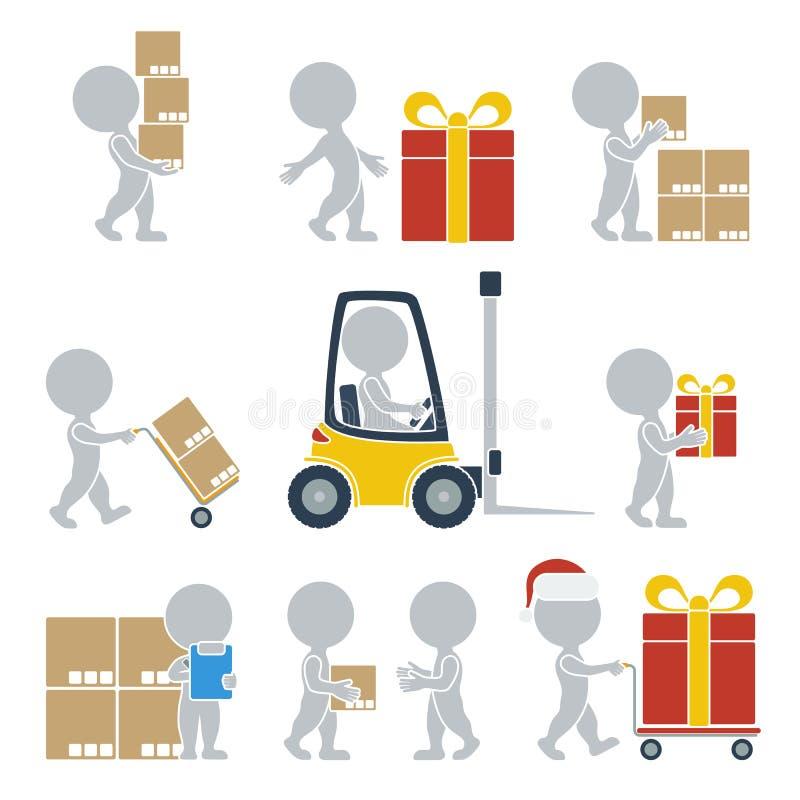 Flat people - shipping stock illustration