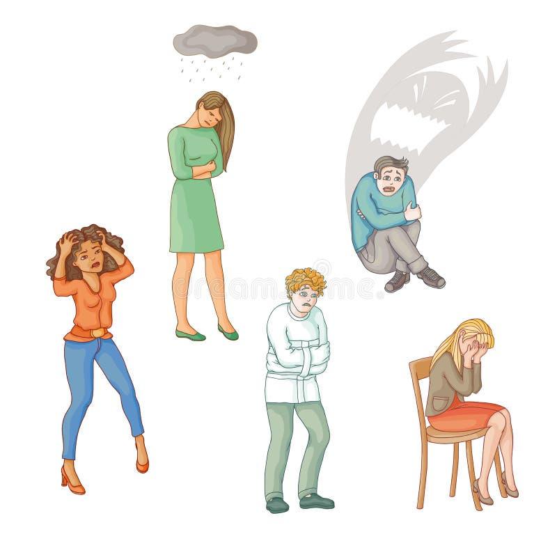 Flat people suffering from mental disorder illness. Set of people suffering from mental disorder, illness, grief, depression, flat cartoon vector illustration royalty free illustration