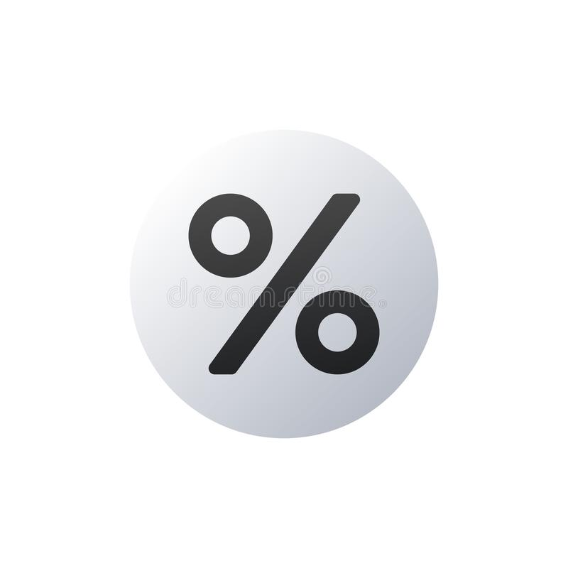 flat percent Icon in circle, Vector illustration isolated on white background stock illustration