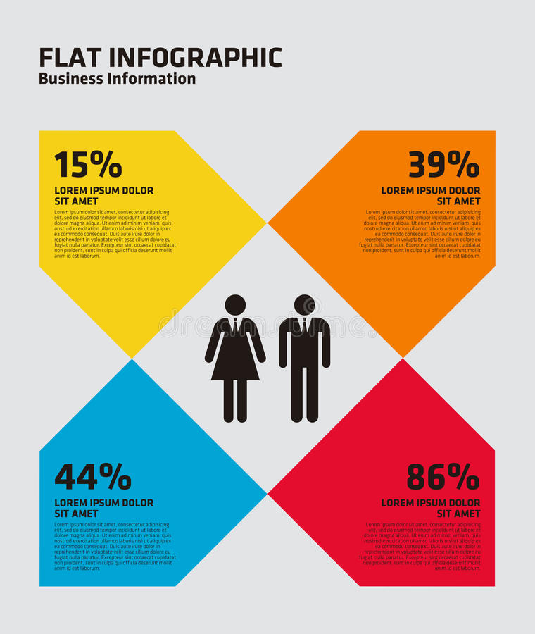 Flat Percentage Infographic. This is a flat percentage infographic stock illustration