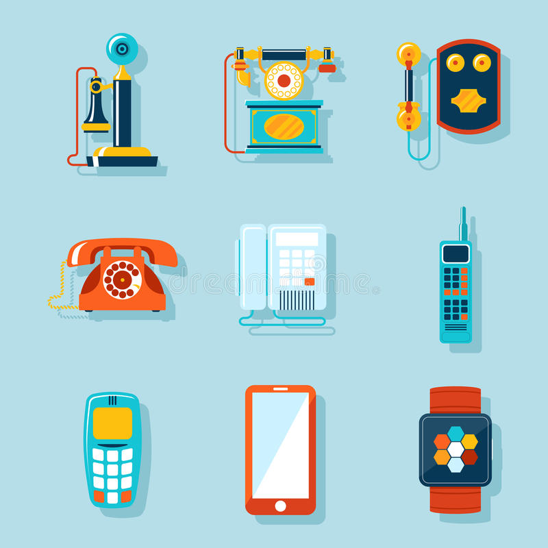 Flat phone icons. Set. Retro and touchscreen, digital display and gadget, handset and communicator. Vector illustration royalty free illustration