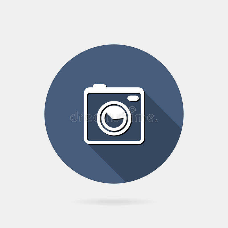 Flat photo or camera icon. Flat icon photo or camera icon with long shadow stock illustration