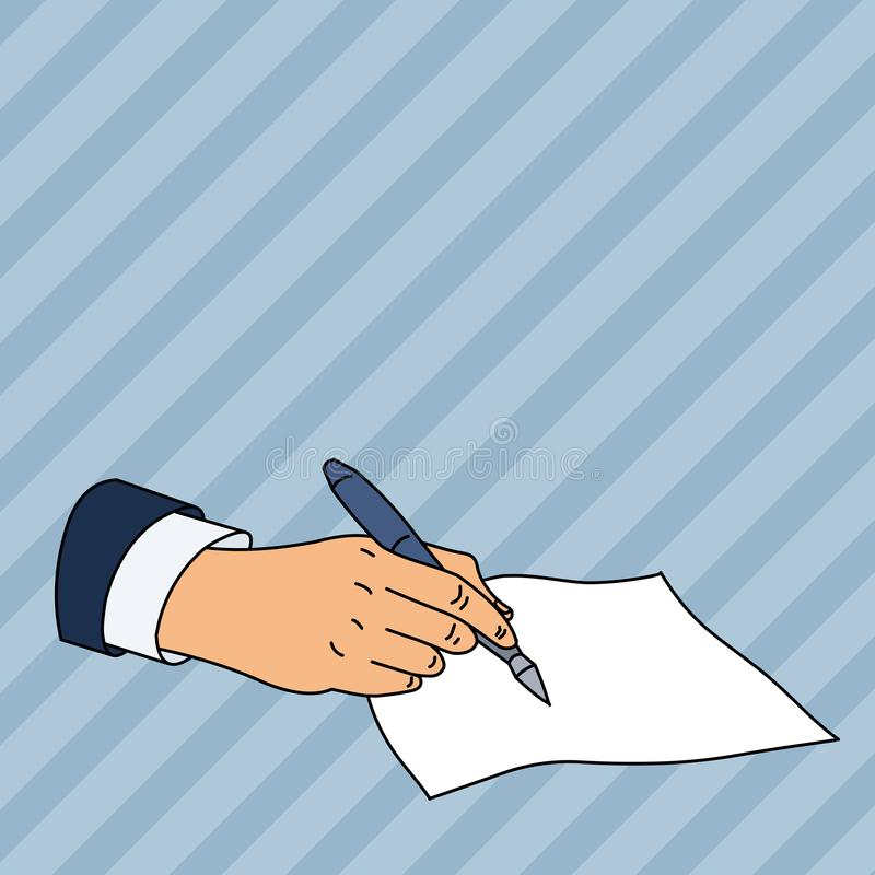 Flat photo photo of Closeup of Male Hand in Formal Suit Holding Ballpoint Pen and Ready to Write on Blank Piece of Paper. Male Hand Formal Suit Holding Ballpoint stock illustration
