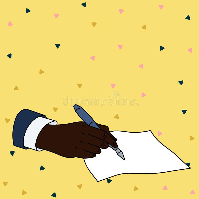 Flat photo photo of Closeup of Male Hand in Formal Suit Holding Ballpoint Pen and Ready to Write on Blank Piece of Paper. Male Hand Formal Suit Holding Ballpoint royalty free illustration