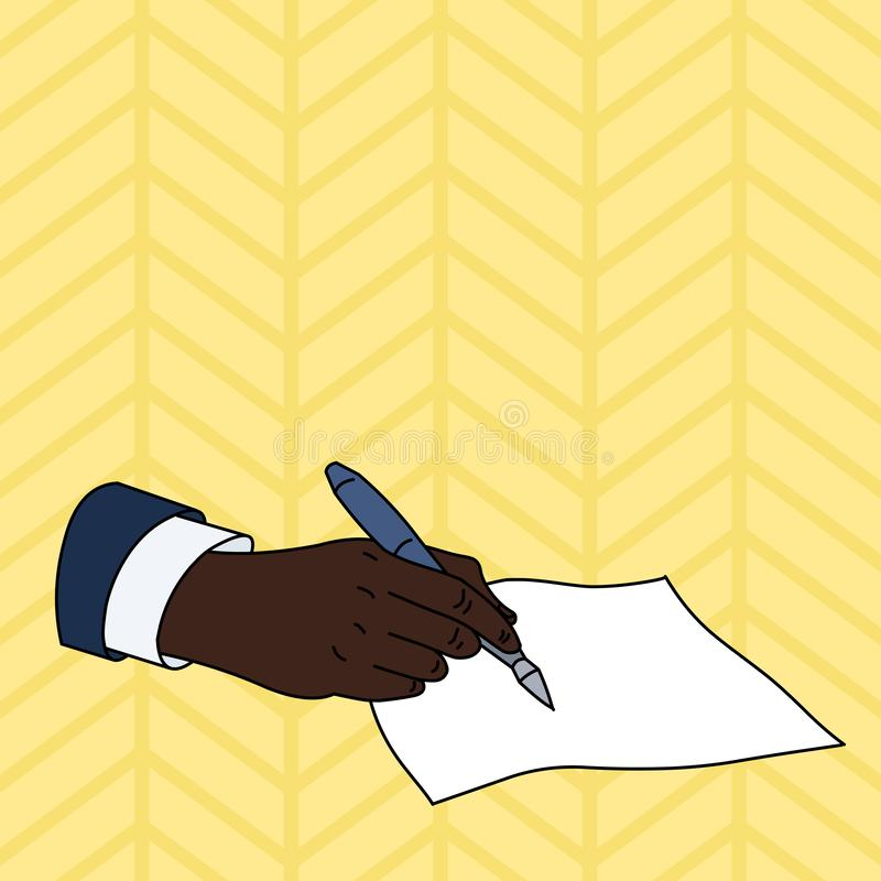 Flat photo photo of Closeup of Male Hand in Formal Suit Holding Ballpoint Pen and Ready to Write on Blank Piece of Paper. Male Hand Formal Suit Holding Ballpoint vector illustration