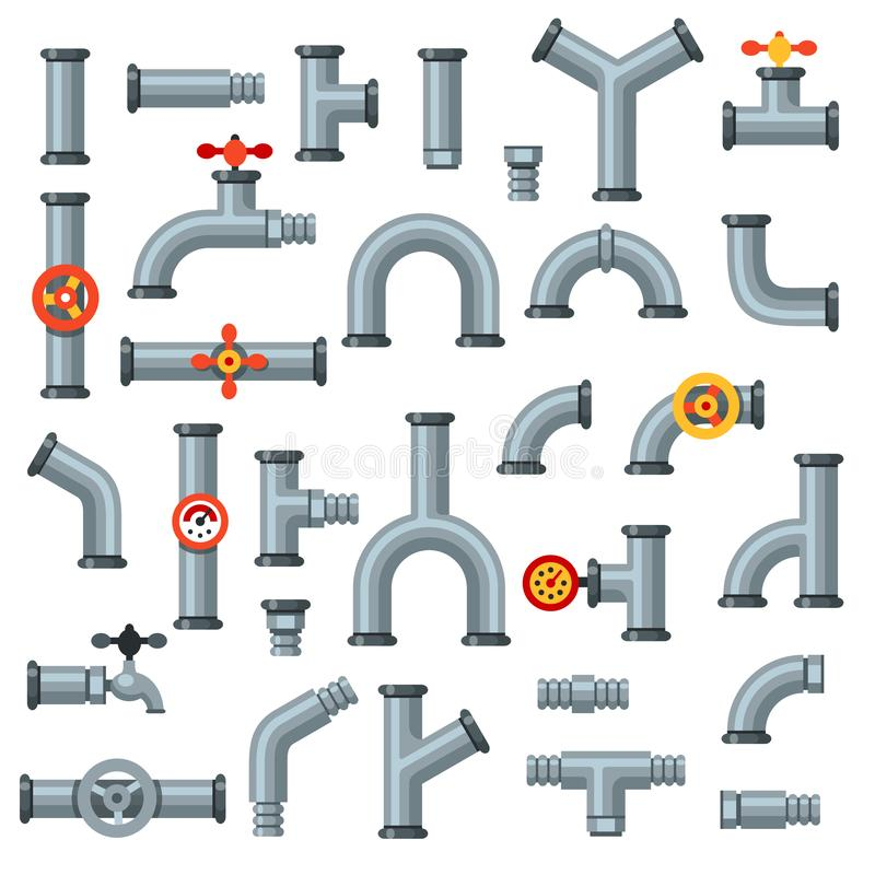 Flat pipes. Oil pipe with pressure gauge, metal tube manometer and drain plumbing connector isolated vector set vector illustration