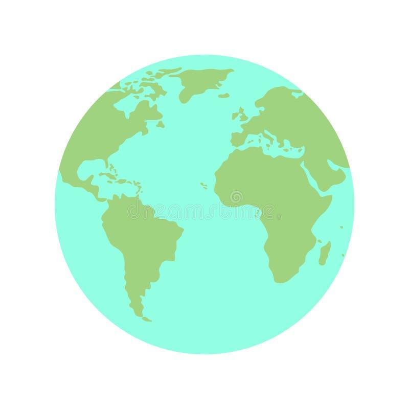 Flat planet Earth globe icon, vector royalty free illustration