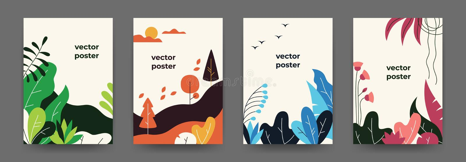 Flat plant posters. Gradient abstract geometric banners with copy space floral frames, jungle leaves and plants. Vector stock illustration