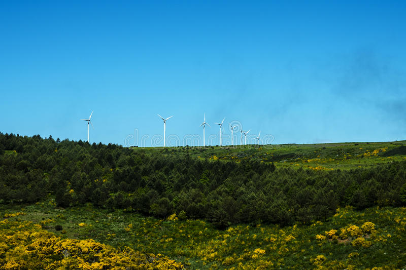 Flat Plateau area with Wind Turbines in the Mountains in the north of the Island of Madeira. Madeira is a very mountainous Island with steep cliffs falling into royalty free stock photo