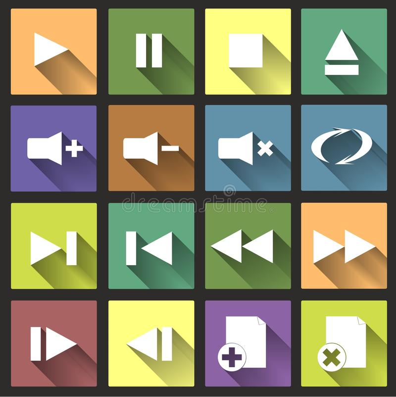 Flat Player Icons with Long Shadow Set