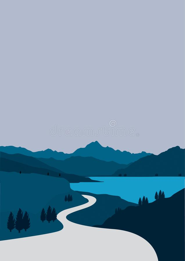 Flat portrait design from views of roads in the mountains and lakes. Vector design element royalty free illustration