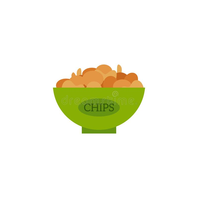 Vector flat potato chips icon. Flat potato chips served in green ceramic pot. Beer snacks, unhealthy crunchy crispy fat food. Junk fried slices in plate. Vector vector illustration