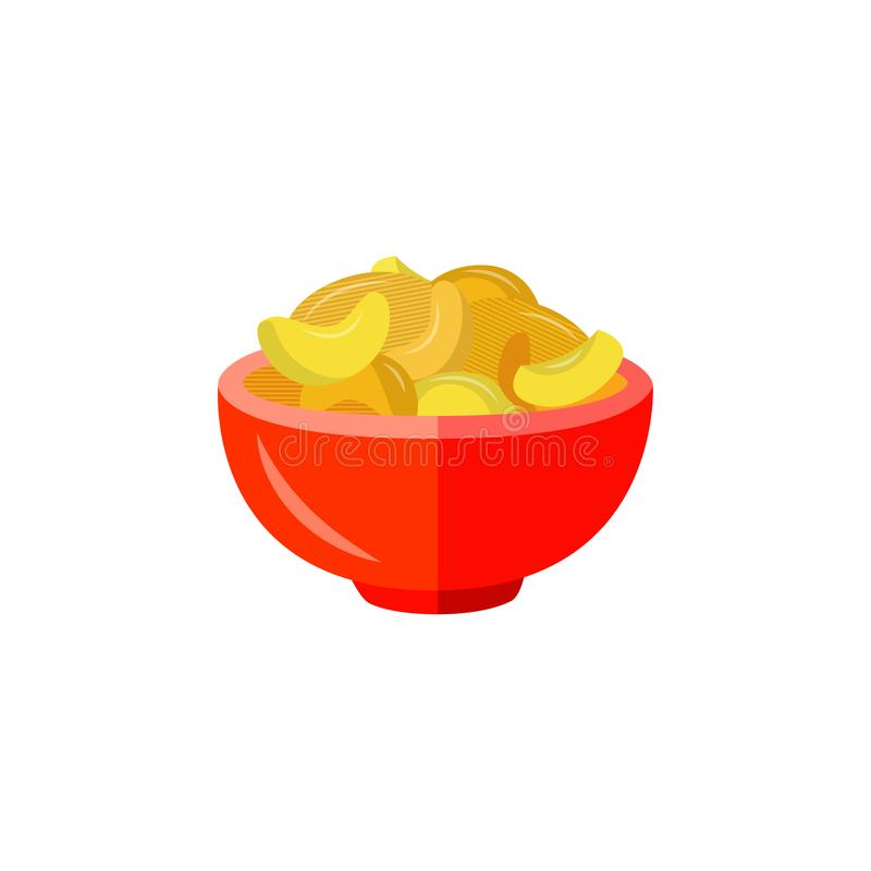Vector flat potato chips icon. Flat potato crispy chips served in red ceramic pot. Beer snacks, unhealthy crunchy crispy fat food. Junk fried slices in plate royalty free illustration
