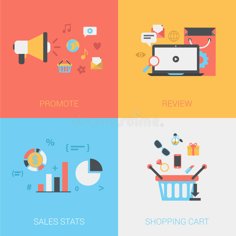 flat promote review goods sales stats shopping cart vector stock