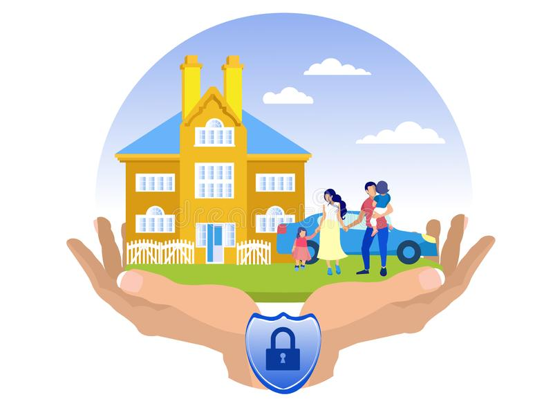 Flat Property Accident Insurance Illustration. Close-up Female Hands Holding Picture with Lock. Family with Children on Background House and Car. Home Property stock illustration