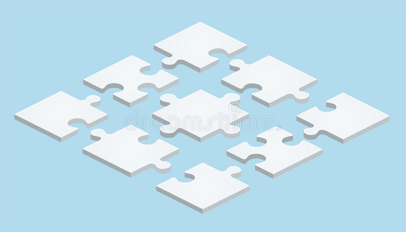 Flat Puzzle in isometric design on blue background royalty free illustration