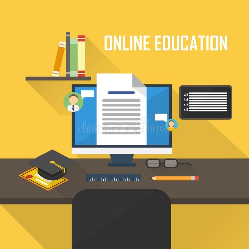 Flat raster illustration of e-learning royalty free illustration