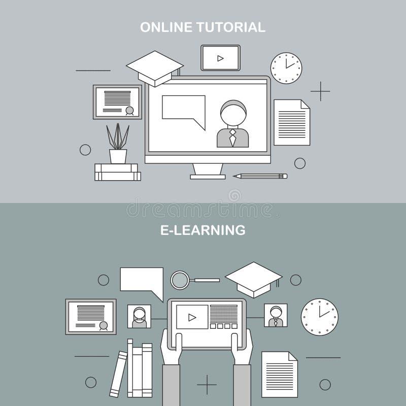Flat raster linear illustration of e-learning vector illustration