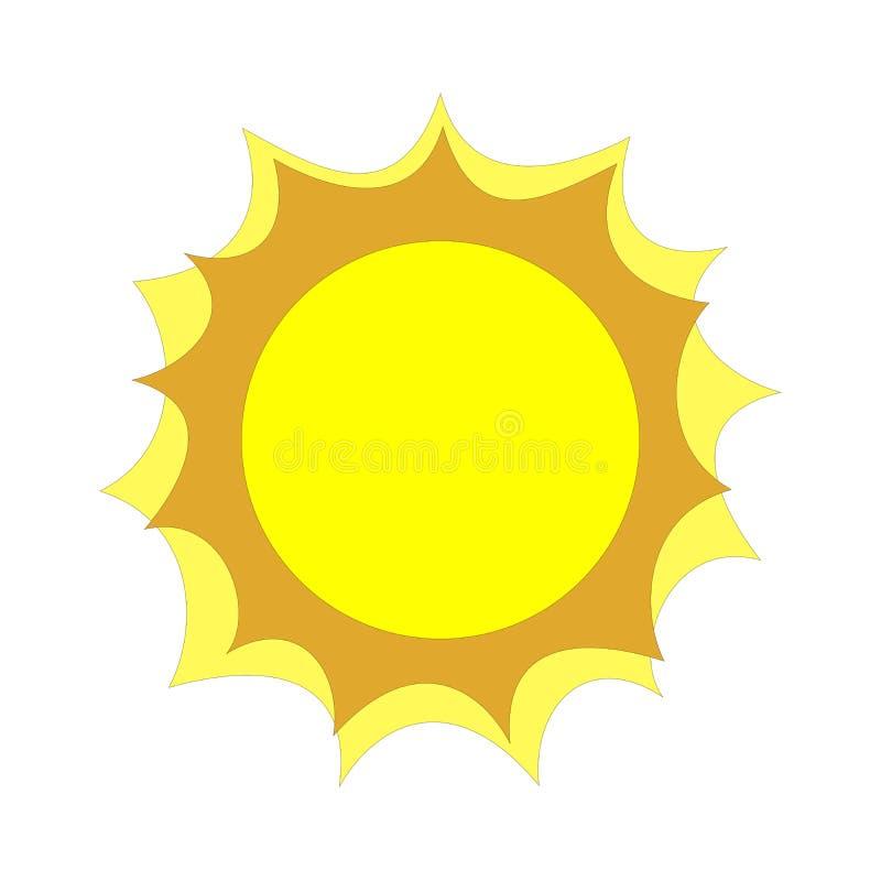 Flat raster sun icon illustration on white background copyspace vector illustration