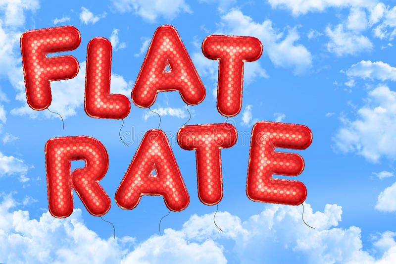 Flat rate. Red balloons on blue cloudy sky vector illustration