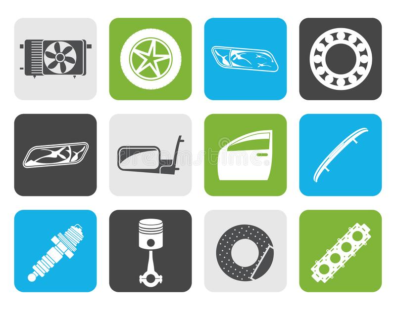 Flat Realistic Car Parts and Services icons royalty free illustration