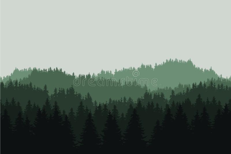 Flat realistic illustration of a green mountain landscape with coniferous forest with trees and hills under a gray sky, vector. Flat realistic illustration of a royalty free illustration