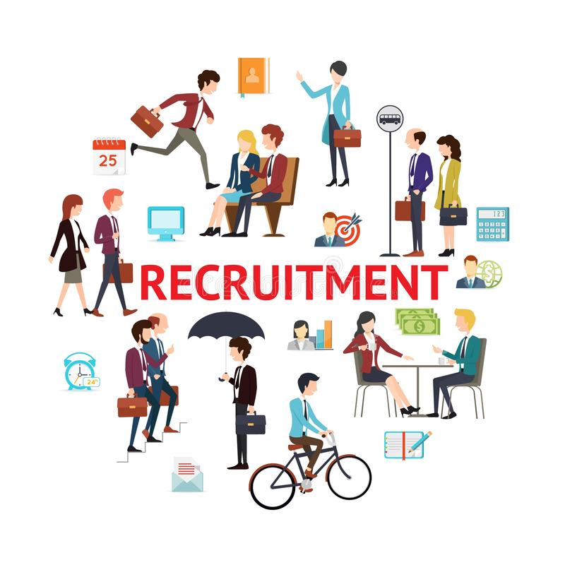 Flat Recruitment Round Concept royalty free illustration