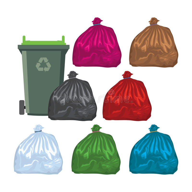 Flat recycling wheelie bin with garbage bags. vector stock illustration
