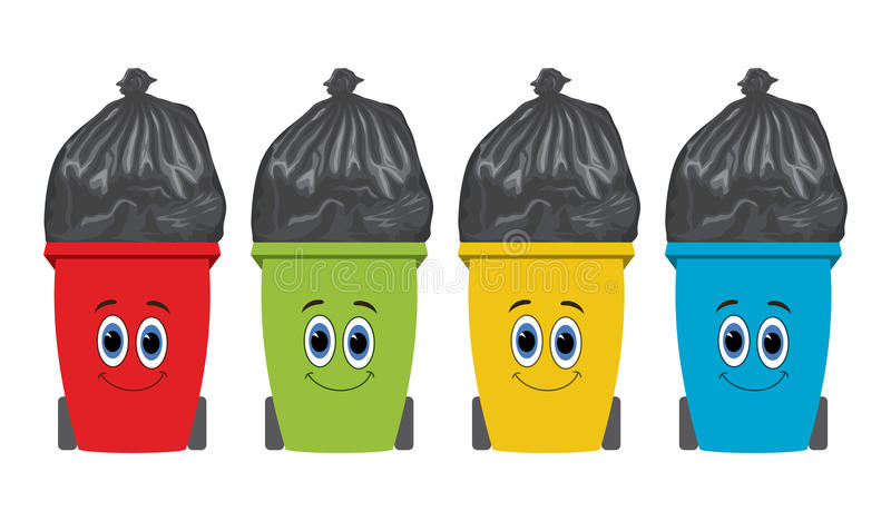 Flat recycling wheelie bins full of rubbish. vector royalty free illustration