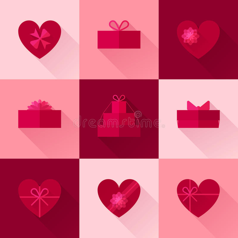 Flat red gift box in the form of heart icon set royalty free stock images