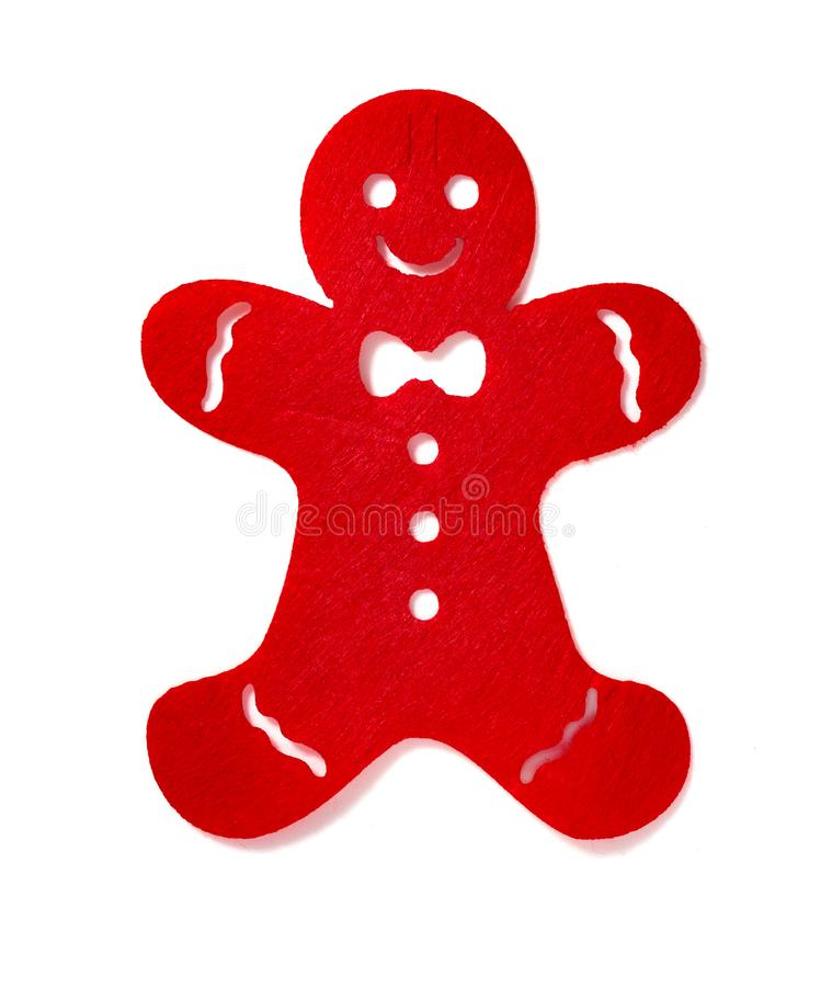 Flat red gingerbread man on white background. Flat red gingerbread man on a white background royalty free stock photos