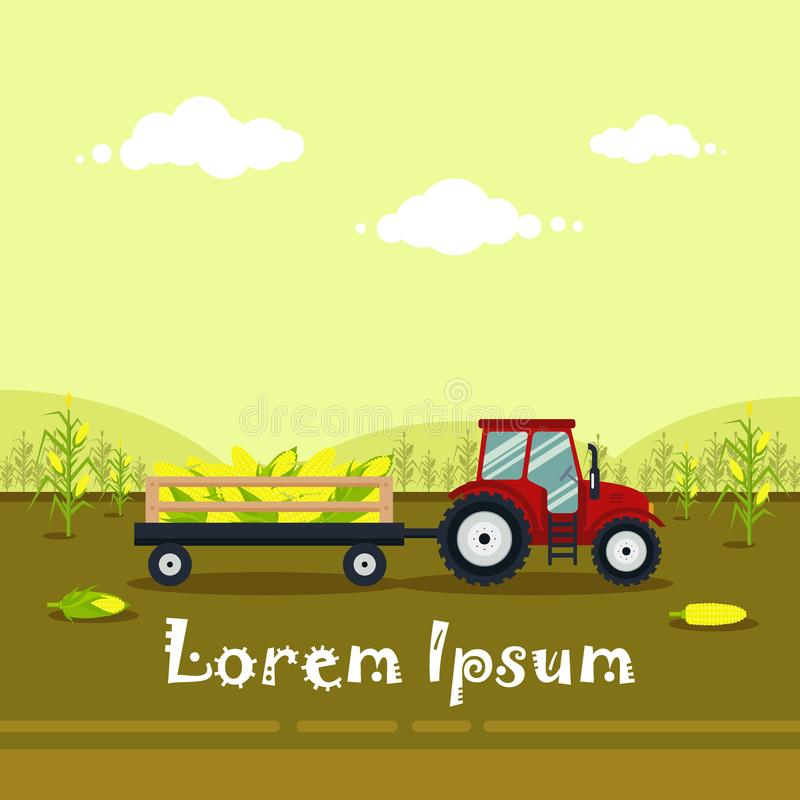 Flat red tractor with a cart corn. The agricultural machinery transports for farm with harvest - vector illustration vector illustration