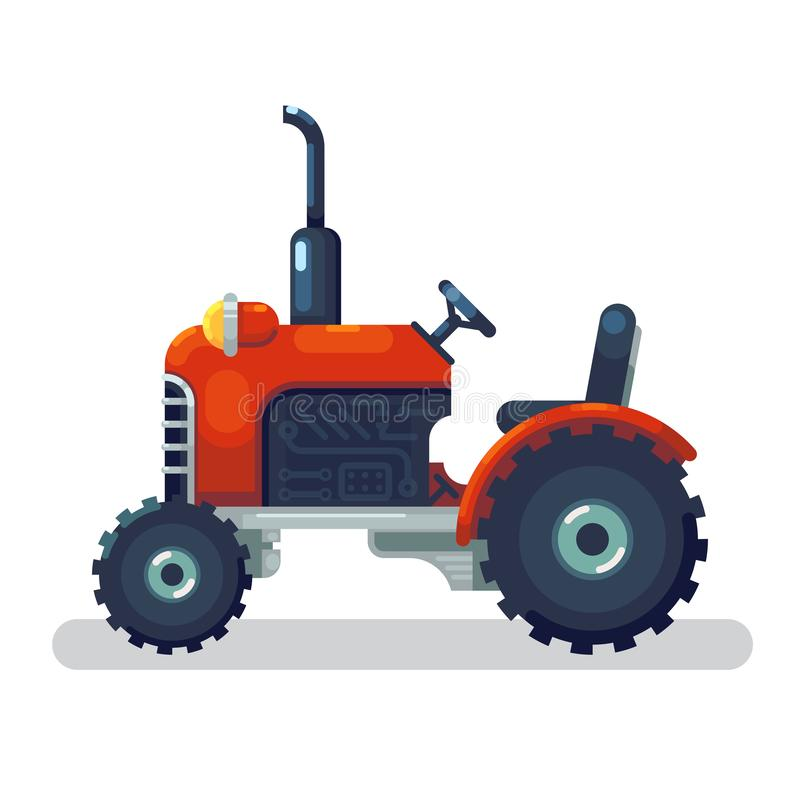 Flat red tractor in a flat style isolated. Agricultural transport for farm in flat style. Heavy agricultural machinery stock illustration