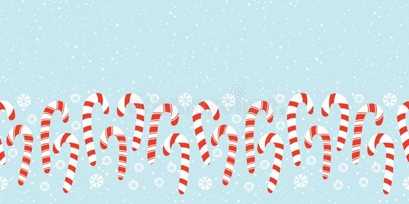 Flat Red and White Holiday Christmas and New Year Candy Canes and Snowflakes Horizontal Vector Seamless Border royalty free illustration