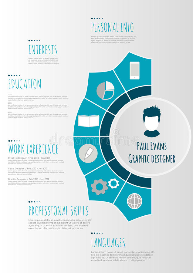 Flat Resume Infographic Design Stock Vector Illustration Of Grey
