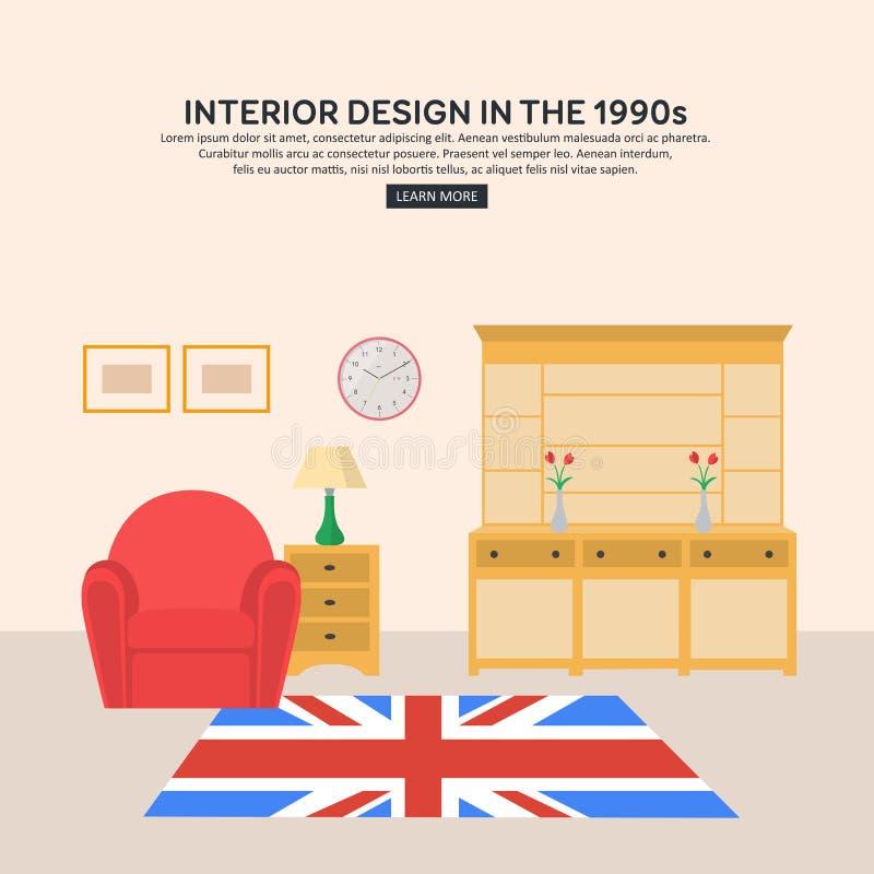 Flat retro interior living room of 1990s stock vector for Interior decoration 1990s