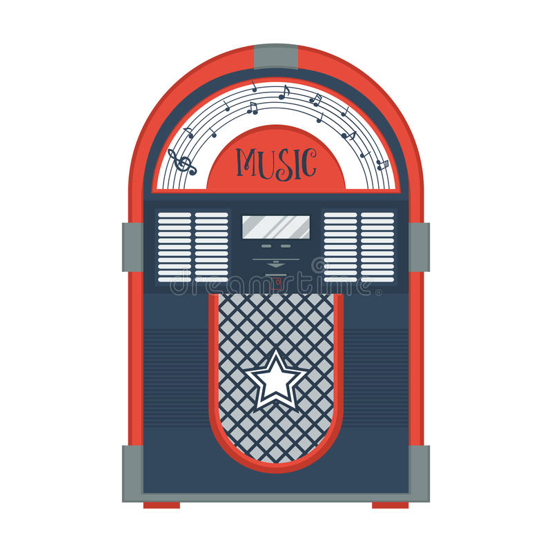 Flat retro jukebox. On white. Music device. Modern trendy design for music concept. Poster, card, leaflet or banner template design with place for text. Vector royalty free illustration