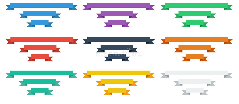 Flat Ribbon Set. Set of 9 beautiful ribbons in flat design royalty free illustration