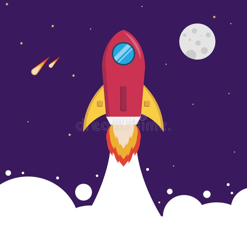 Flat rocket. Project start up. New product launch. Rocket launch, ship vector, illustration concept of business product on a market. Good for startup design stock illustration