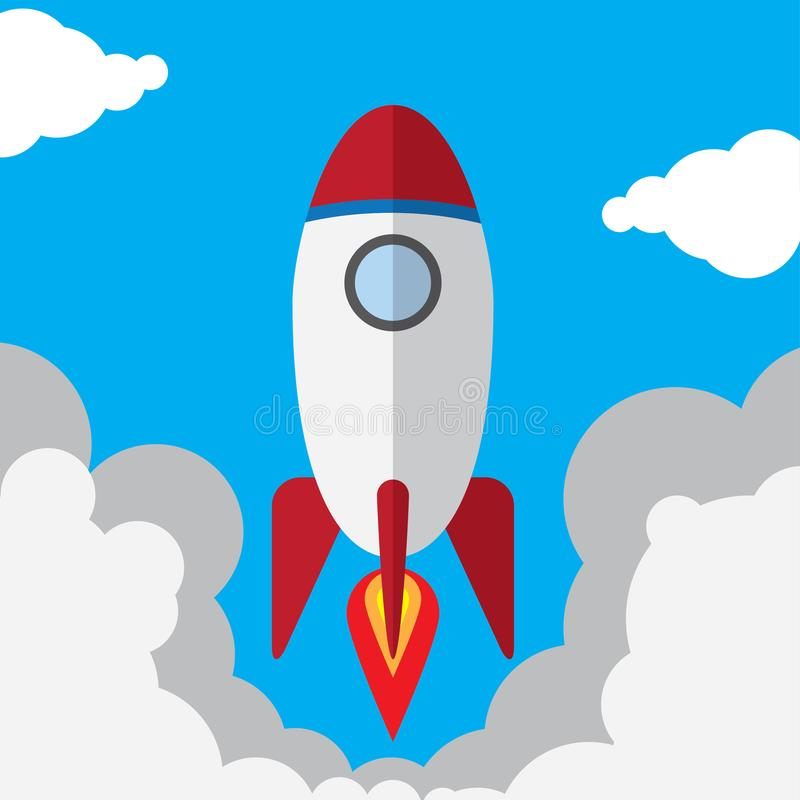 FLAT ROCKET IN THE SKY royalty free stock image