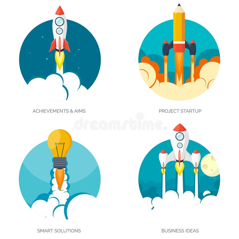 Flat rocket spaceship launch. Startup concept and project development.Space exploration. Flat rocket spaceship launch. Startup concept and project development royalty free illustration