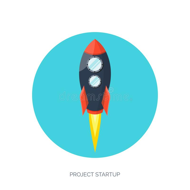 Flat rocket spaceship launch. Startup concept and project development.Space exploration. Flat rocket spaceship launch. Startup concept and project development vector illustration